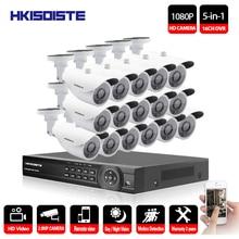 HKIXDISTE HD 16CH CCTV System 16 Channel 1080P DVR 16PCS 2.0MP Bullet Outdoor Home Video Camera System Surveillance Kits
