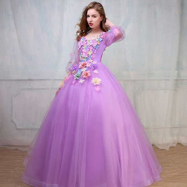 d0cc7a8ea20 Luxe lumière violet Medieval Renaissance robe princesse robe fleur Costume  victorienne cosplay Marie Antoinette Belle robe