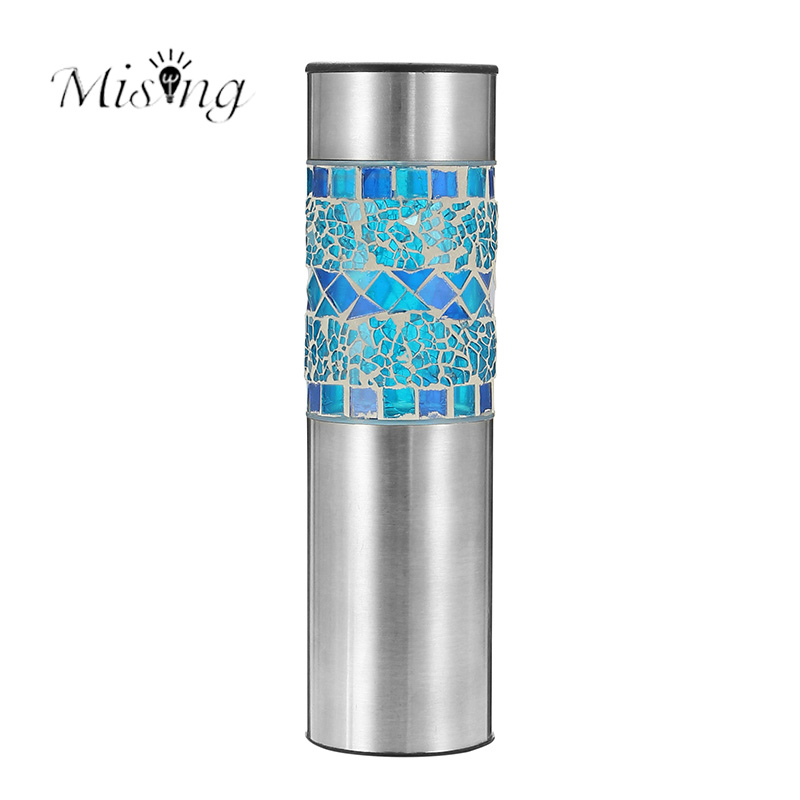 Mising DIY LED Waterproof Solar Lamp Outdoor Lawn Garden Decoration Lights Stainless Steel Blue Yellow Party Landscape lighting