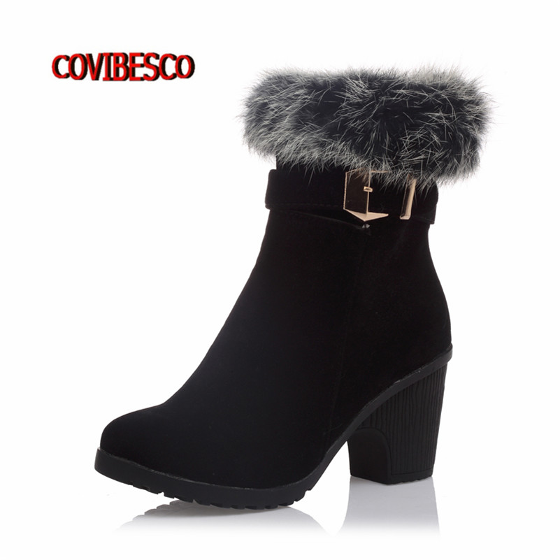 2016New Rabbit Fur Autumn Winter High Heels Ankle Boots Woman Warm Martin Shoes Sexy Round Toe Short Motorcycle Boots Large Size enmayla ankle boots for women low heels autumn and winter boots shoes woman large size 34 43 round toe motorcycle boots