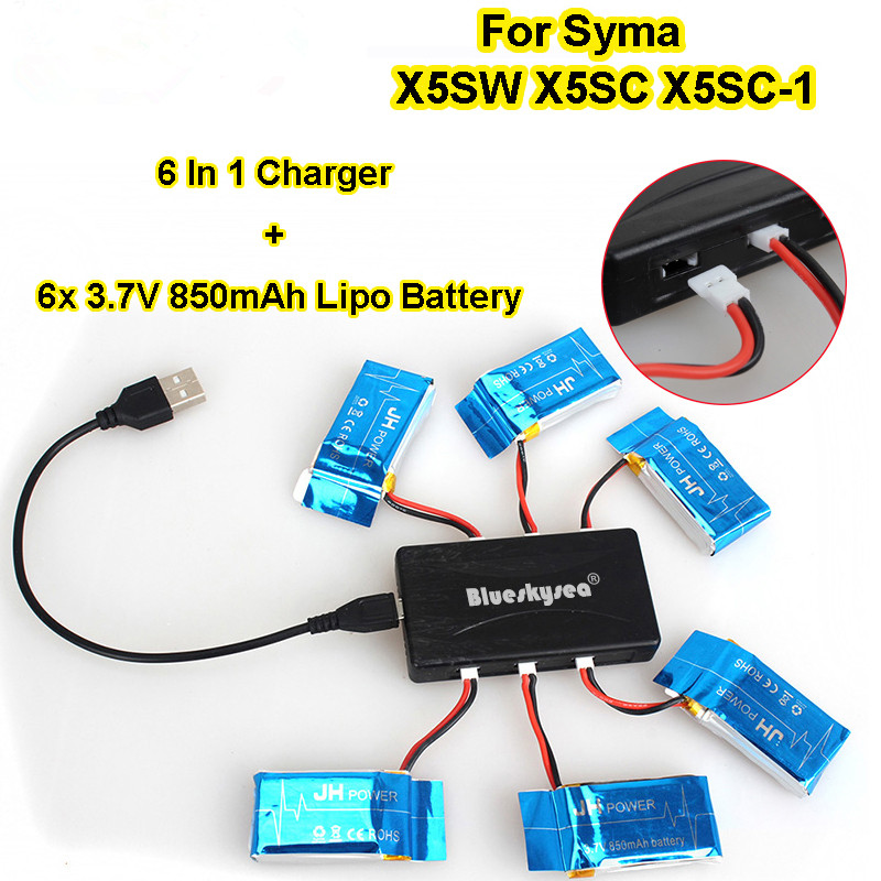 Blueskysea 6x 3.7V 850mAh Battery+6in1 Charger Set For Syma X5SW X5SC RC Drone Quadcopter