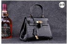 100%จระเข้ผิวท้องผู้หญิงกระเป๋าถือกระเป๋าสะพายหนังจระเข้แท้Messengerกระเป๋ากระเป๋าถือสีดำ