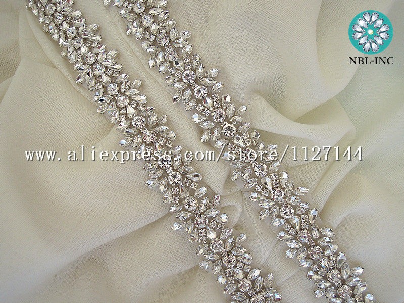 (10 YARDS)Wholesale bridal beaded rose gold crystal rhinestone applique  trim iron on for wedding dress sash belt WDD0278 Rose-in Rhinestones from  Home ... 3fb96a378149
