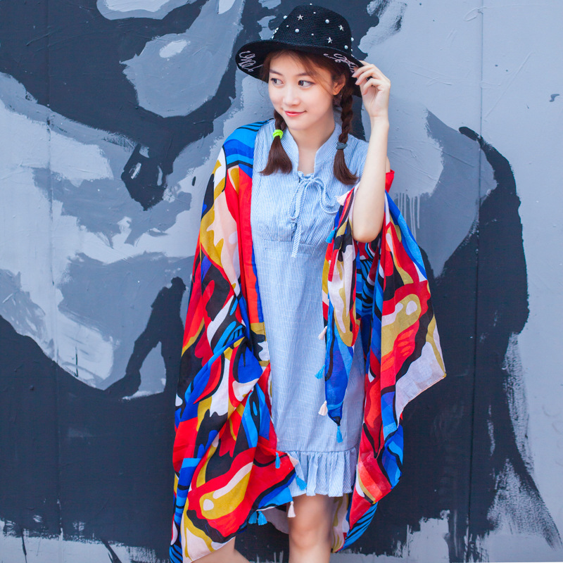 Rainbow Print Abstract Handmade Bedding Tassel Shawl Scarf Poncho Moda Mujer 2019 Shein Marca De Lujo Accesorios Mujer Bandana
