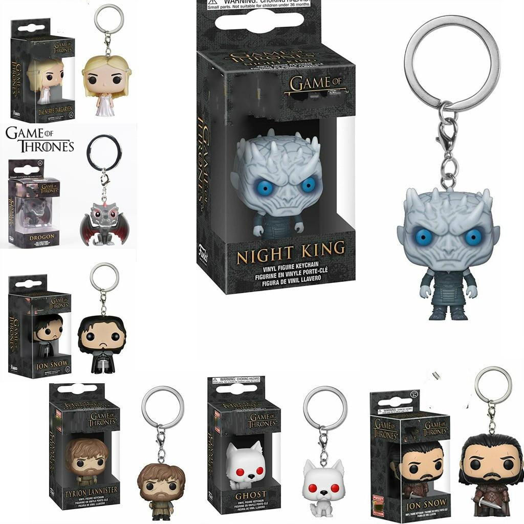 Funkos Pops Action Figure Keychain Games of Thrones Jon Snow Daenerys Night King Dragon Tyrion Cartoon Characters Keychain Toys(China)
