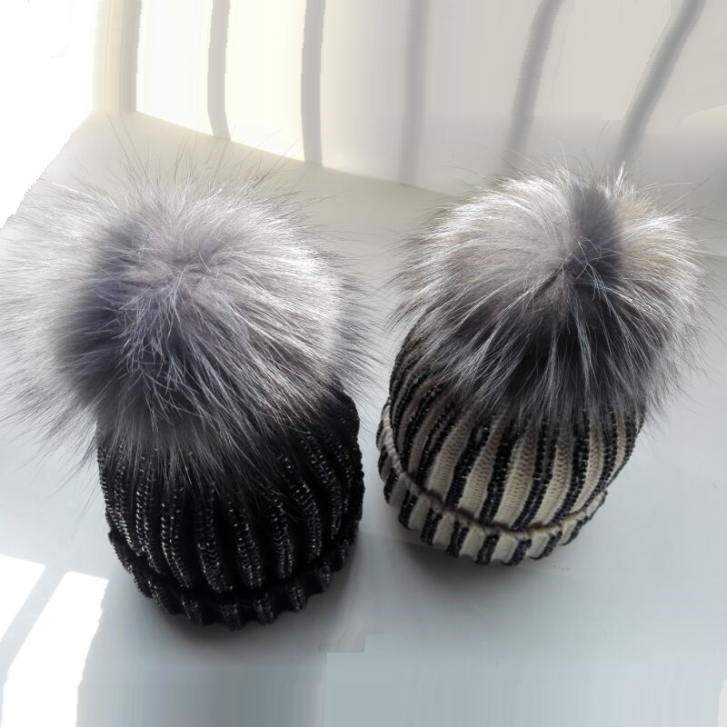 2017 Winter Hats Newest Women Striped Real Removable Silver Fox Fur Pom pom Ball Knitted   Skullies     Beanies   Caps Rhinestone Hats