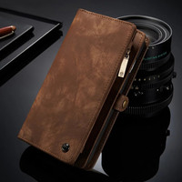 Luxury Brand Zipper Wallet Case for iPhone 8 7 Plus Men's Multifunctional Bag Cover Magnetic Back Case for iPhone 6 6S Plus