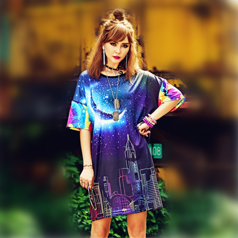 JUST.BE.NEVER blue moon graphic tees plus tops punk long tshirt kawaii harajuku wonder women over size hipster streetwear 2018-in T-Shirts from Women's Clothing    1