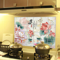 LOVE COSY Traditional Chinese Painting Lotus Kitchen Oilproof Wall Stickers PVC Aluminum Foil Sticker Adhesive Home Decor 2339WS