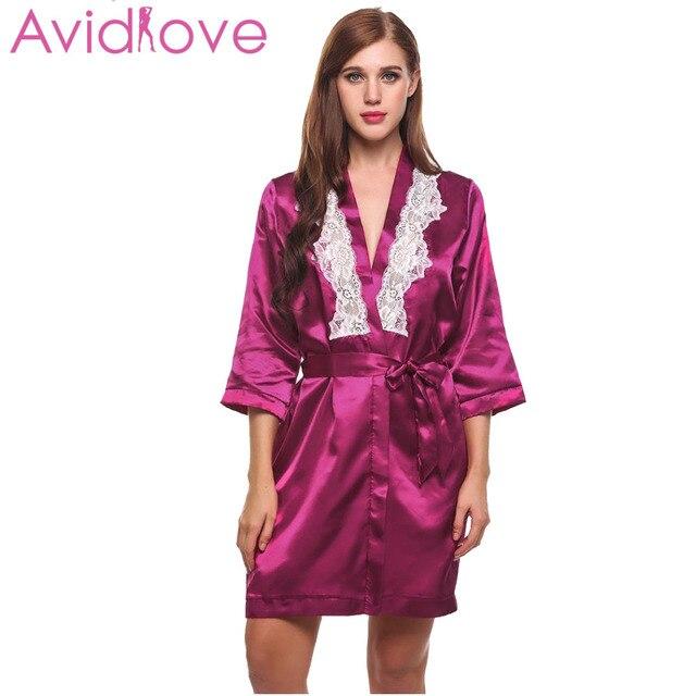 9bc9a75b023 Avidlove Sexy Short Satin Bride Robe Lace Patchwork Kimono Women Wedding  Sleepwear Summer Female Bathrobe Lingerie Clothes