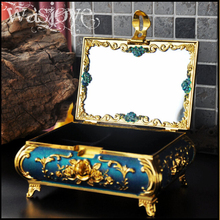 classic tin alloy metal European Gothic queen jewelry display princess jewelry keepsake souvenir box case jewelry box blue Z003B