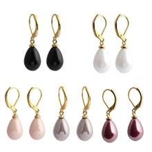 848183a64d00 De moda perla simulada de concha Natural colgante gancho pendientes para  las mujeres elegante estilo coreano joyería de diseño n.