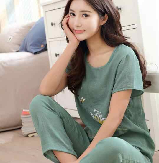 4XL 3XL 2XL XL כותנה פשתן פיג 'מה נשים הדפסה קצר שרוול קיץ הלבשת פיג' מות סט בתוספת גודל pyjama נשים בית בגדים