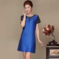2016 New Chinese Style Middle Aged Women Vintage Lace Dress O Neck Short SLeeve Party Dresses
