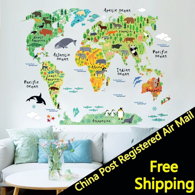 Cartoon Animal World Map Wall Stickers For Kids Rooms Nursery Decor - World map wallpaper for nursery