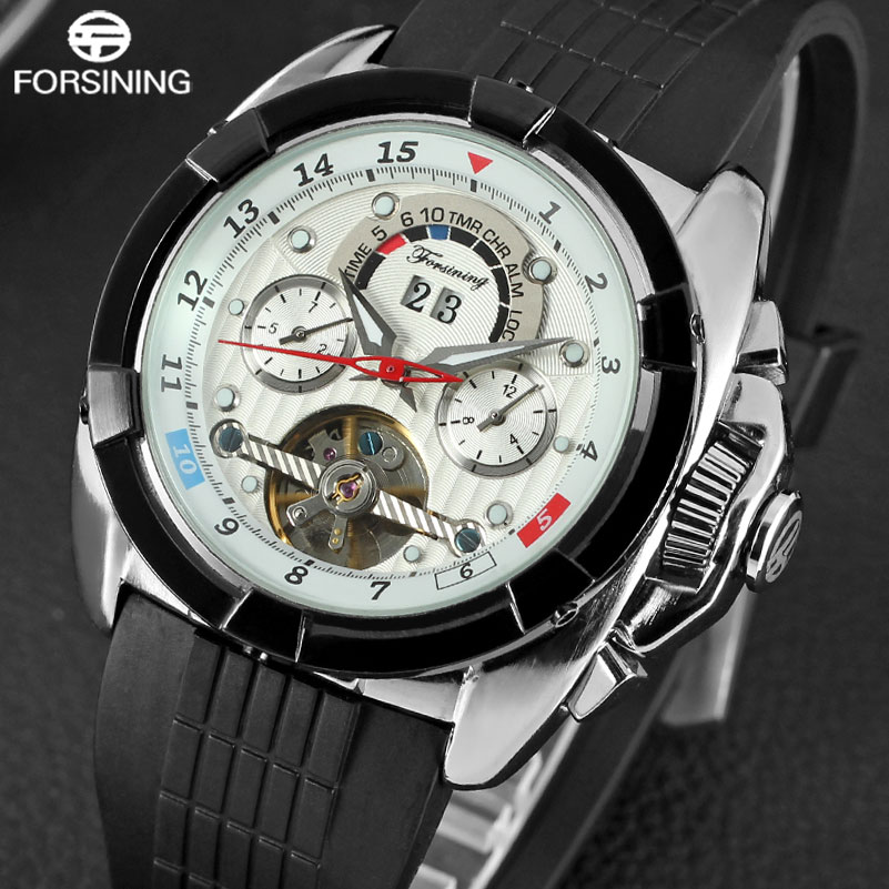 FORSINING Mens Watches Luxury Tourbillion Design Rubber Strap Complete Calendar Automatic Mechanical Men Watch