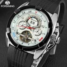 FORSINING رجّالي ساعات فاخرة tourمليار تصميم ساعة بحزام مطّاطي تقويم كامل التلقائي الميكانيكية الرجال ساعة