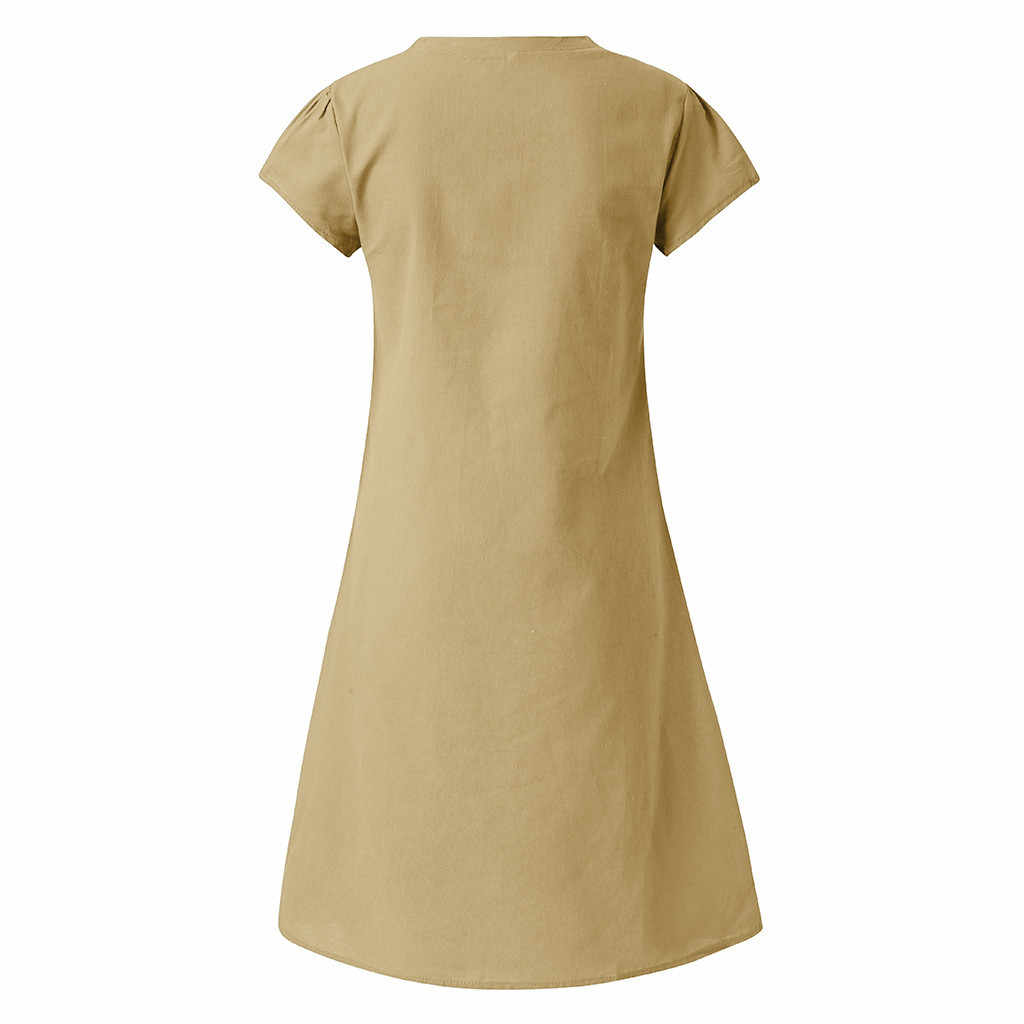 Women Summer Dress Style V-Neck Printed Cotton And Linen Casual Plus Size Ladies Dress Fashion Beach Dresses Party S-5XL Dresses