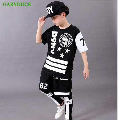 GARYDUCK 2017 Children`s Sports Suit Boy Casual Tracksuit Kids Hip Hop Dancewear Boys Spring Clothes Cool Fashion Black White