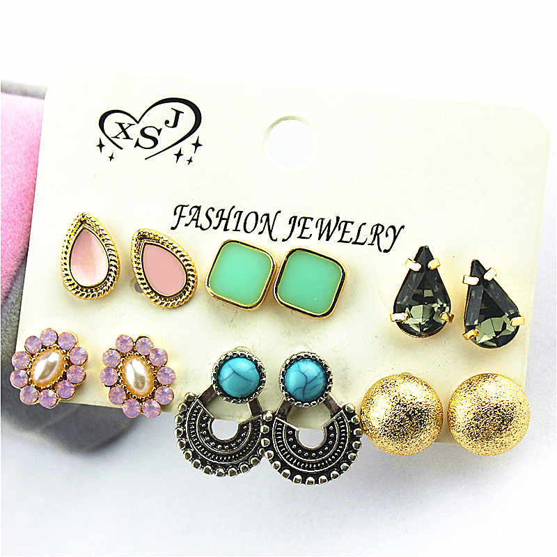 New fashion style beauty jewelry wholesale Girl Birthday Party Earrings powder green purple mix type Earrings agent shipping