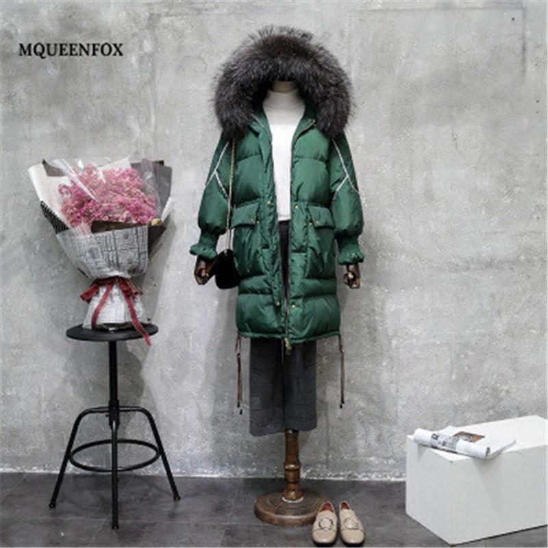Women's Winter Jacket 2019 Winter Down Jacket Vintage Green Cotton   Parka   Real Raccoon Fur Collar Hooded Long Jacket Outerwear