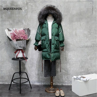 Women's Winter Jacket 2019 Winter Down Jacket Vintage Green Cotton Parka Real Raccoon Fur Collar Hooded Long Jacket Outerwear