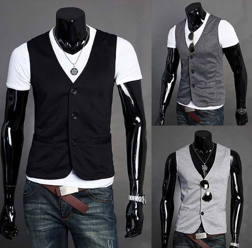 free shipping New arrival sale mens fashion casual cotton vest man leisure v neck sleeve ...