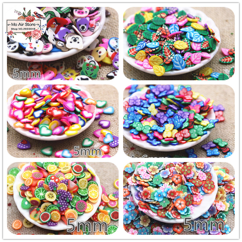 1000pcs 5mm Mix Color Heart/flower/leaf/animal/bow Slince Polymer Clay Craft Nail Art Supply Decoration Charm Craft