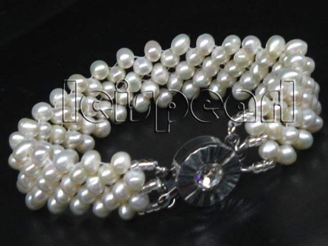 Genuine 5mm white freshwater pearl bracelet free shipping