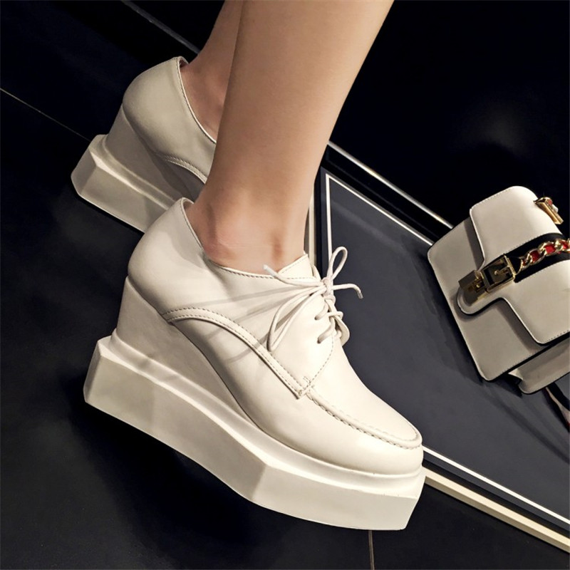 OKHOTCN Brand Platform Shoes Woman Patent Leather Super High Heels Lace Up White Footwear Female Oxford Wedge Shoes For Women n11 brand 2017 spring women platform shoes woman brogue patent leather flats lace up footwear female flat oxford shoes for women