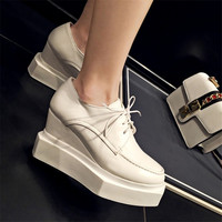 OKHOTCN Brand Platform Shoes Woman Patent Leather Super High Heels Lace Up White Footwear Female Oxford