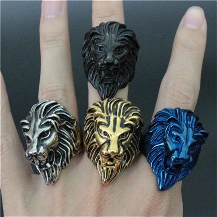 1 pc nouveauté 4 couleurs anneau roi Lion 316L en acier inoxydable de haute qualité anneau de Lion Animal de noël