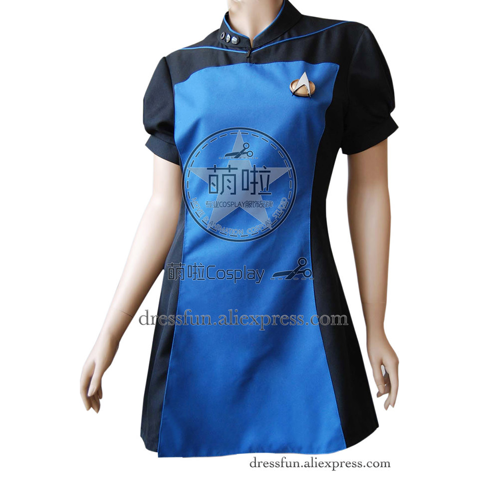 Star Trek Cosplay TNG The Next Generation Blue&Black Skant Dress Uniform Suit Outfits Halloween Fashion Party Fast Shipping