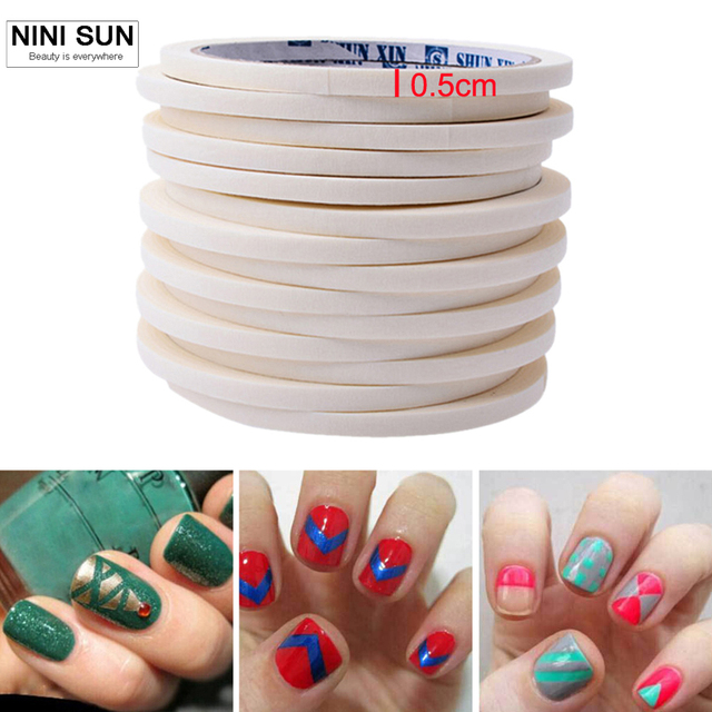 2pcs/ lot 17m*0.5cm Nail Art Tips Creative Nail Stickers Taps French ...
