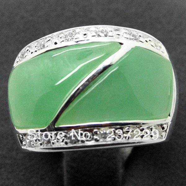 Wholesale price FREE SHIPPING  Jewelry Ring Inlay Green stone 925 Sterling Silver Ring Size 7