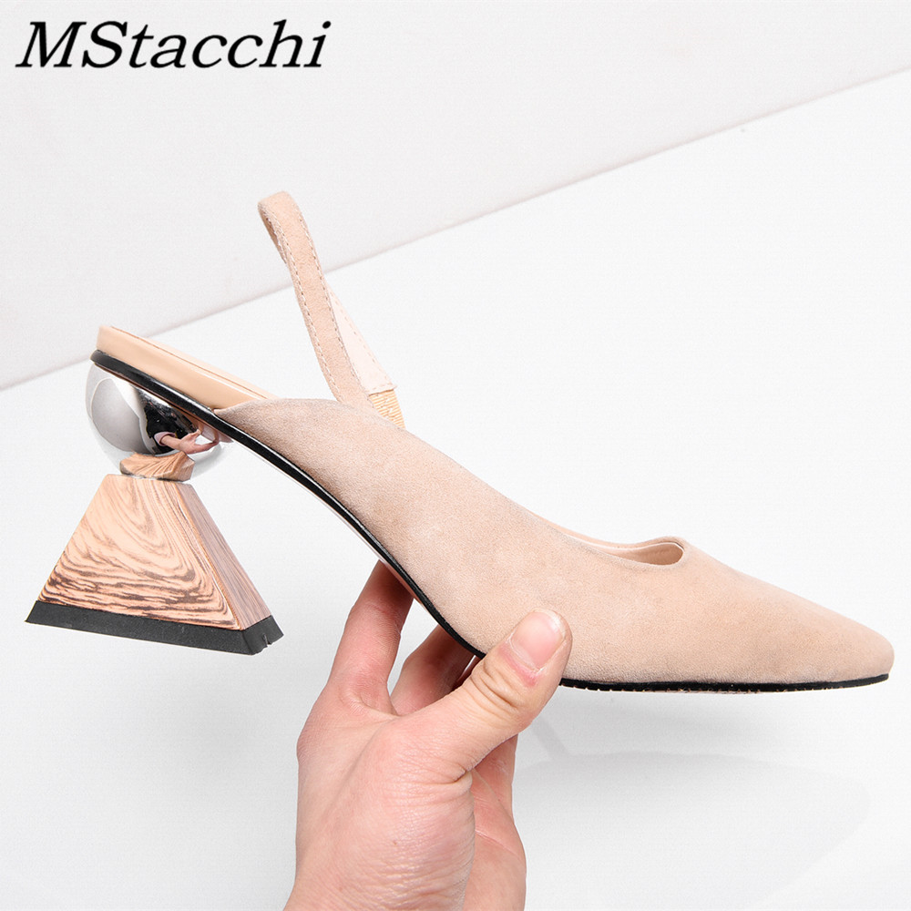 MStacchi New Arrival Cow Leather Sheep Suede Strange Heel Shoes Woman Sandals Asymmetrical Square Heek Sandals Pointed Toe Pump