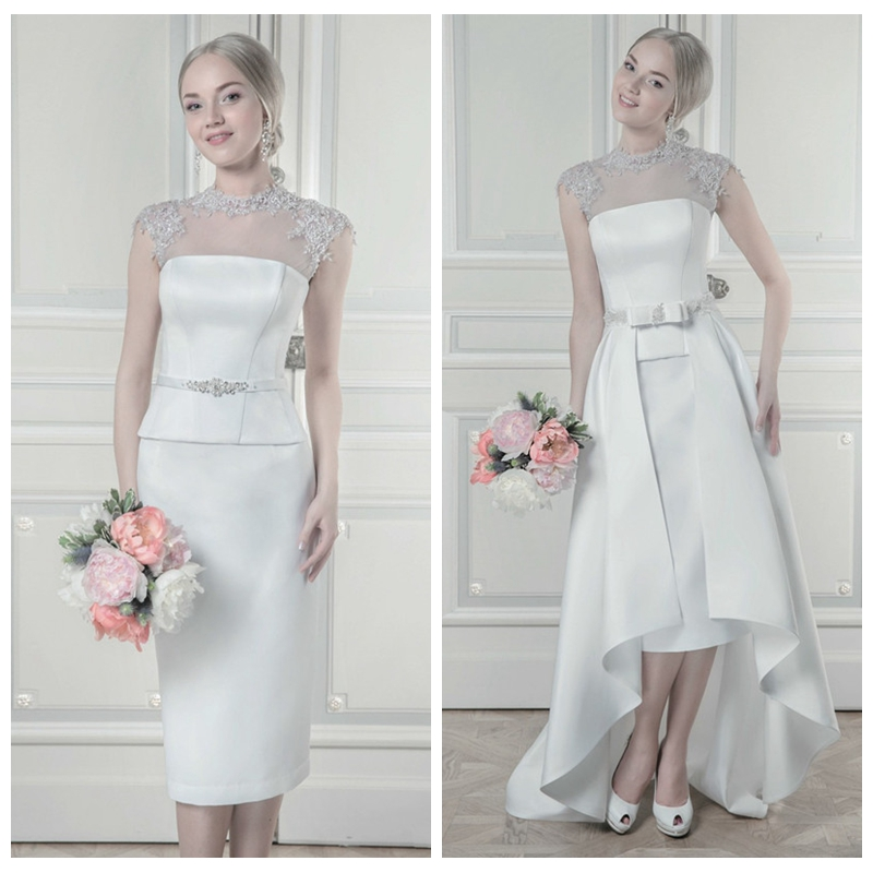 2019 High Neck Lace Appliques Sheath Wedding Dresses