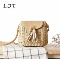 LJTNew Rattan Bag Small Fresh Messy Grass Bag Lady Mini Beach Vacation Leisure Shoulder Woven Bags
