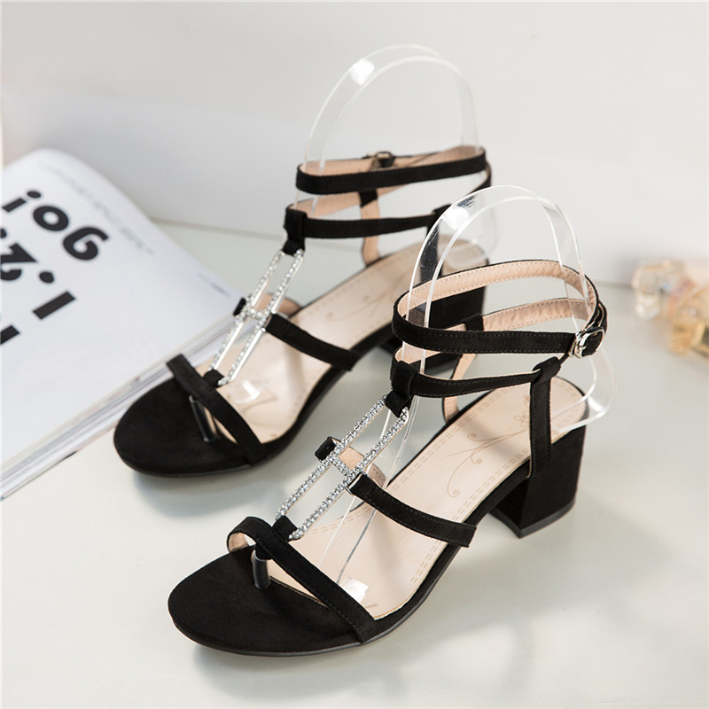 Sexy Women Suede Strappy Gladiator Sandals Pumps Open Toe Lace Up Block Heels Chunky Sandals Woman Summer Shoes plus size35-45 new fashion woman flats spring summer women shoes top quality strappy women sandals suede pointed toe gladiator ballet pumps