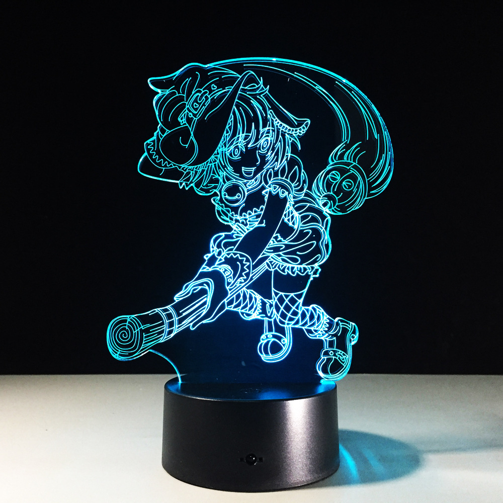 TouHou Project Kirisame Marisa 3D Led Night Light Table Lamp RGB 7 Color Changing Acrylic For Xmas Gift