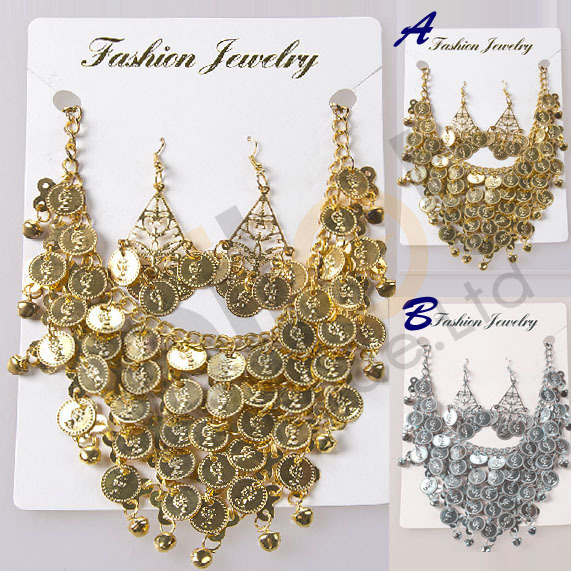 2015 NEW Handmade Tribal Necklace Earring Jewelry Choker Belly Dance Accessories Golden/Silver Sequins Coins