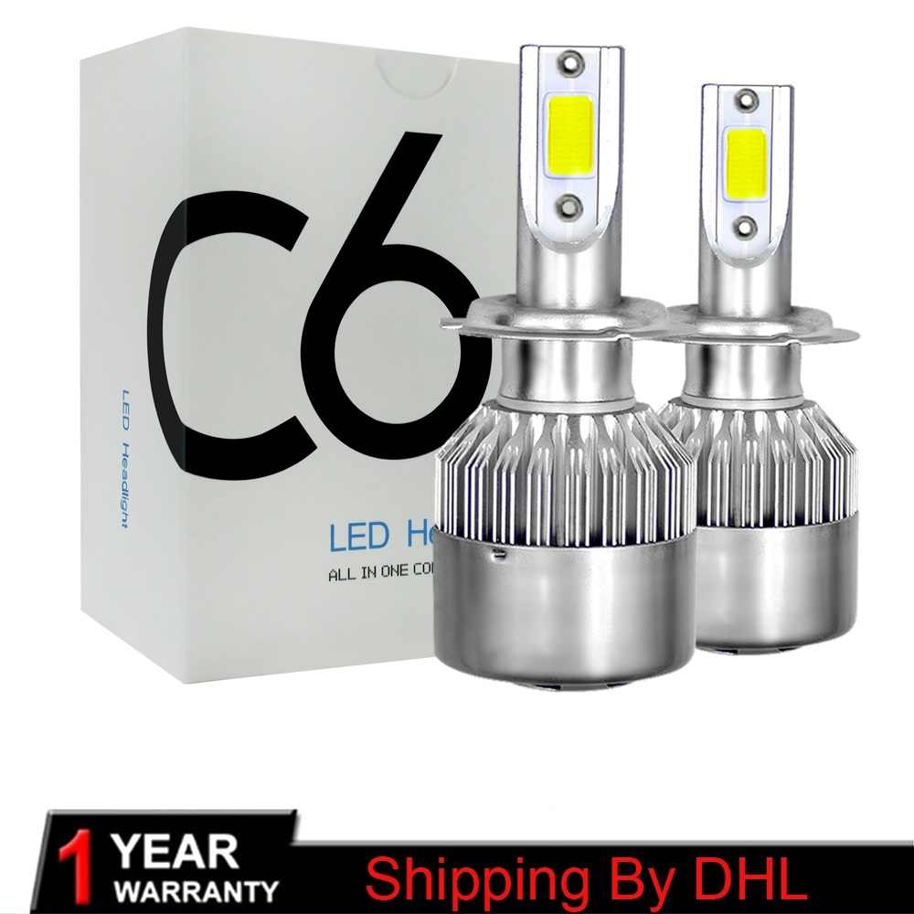 Shipping by DHL H4 LED H7 H11 H1 9004 9006 9007 HB1 HB2 HB3 HB4 HB5 H3 H13 LED Car Headlight Bulbs 72W 7600LM 6000K Auto lamp