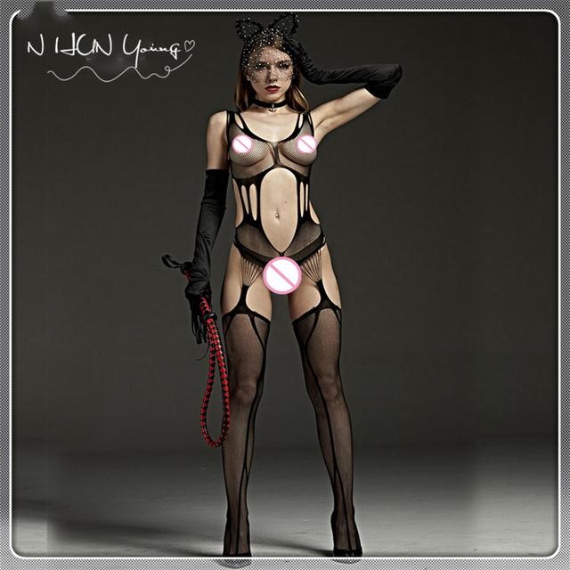 Sexy Lingerie Hot Erotic Bodystocking Plus Size Bodysuits Sexy Body Costumes Women Open Crotch  Babydolls Erotic Underwear QQ082