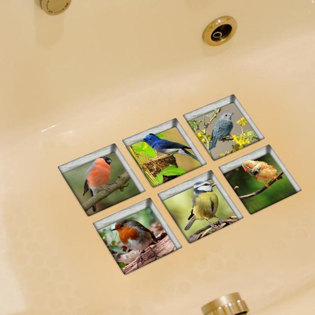 6 Stucke 13x13 Cm Vogel Muster 3d Anti Rutsch Wasserdichte Badewanne