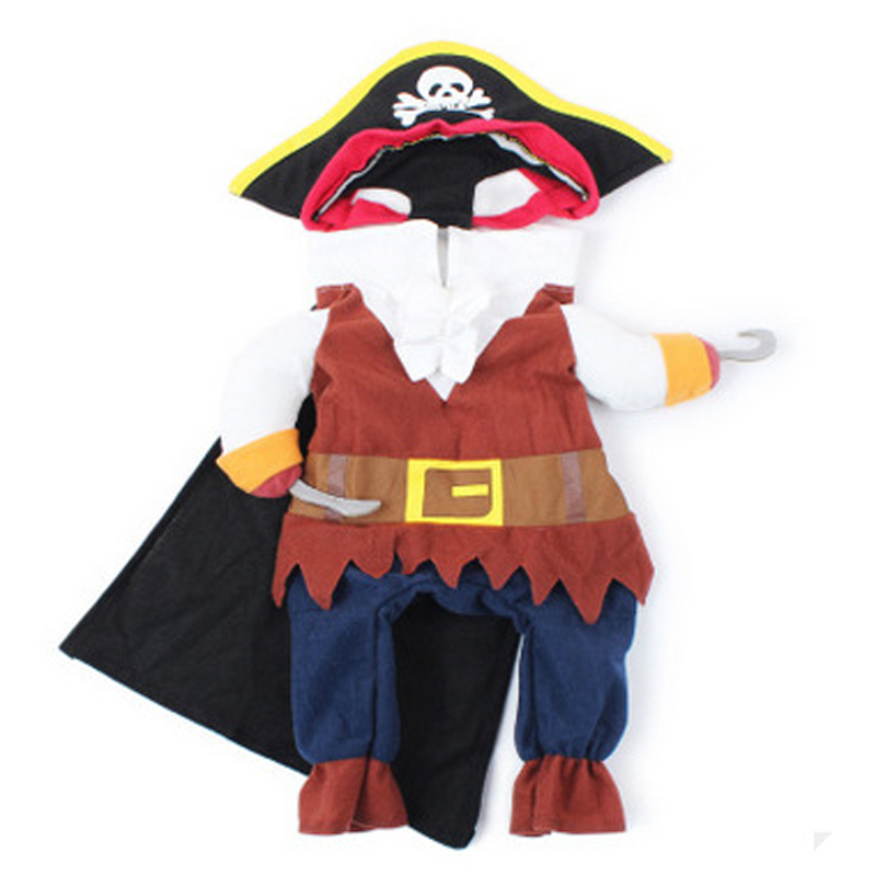Funny Pet Dog Pirate Suit Cat Clothes Corsair Puppy Dressing Up Dog Party Costume Plus Hat For Cats