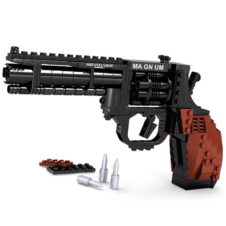 300 PCS DIY Nerfs Elite Gun Fiveshooter Pistol Toy Gun Model Building Block Set Plastic Toys Kit Gift For Children