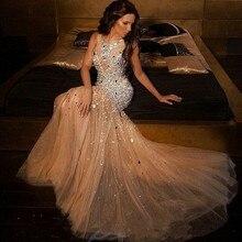 Wunderschöne Champagner Mermaid Abendkleid durchsichtig perlen funkelnden kristall lange abendkleid vestidos de formatura