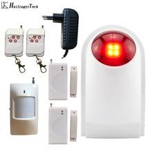 HuilingyiTech 110dB Wireless Indoor Outdoor Flash Siren Horn Loudly Siren Alarm System with PIR and Door Open Sensors