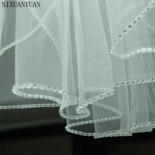 Свадебные аксессуары, короткая свадебная вуаль с кристаллами по краям, белые цвета слоновой кости на заказ, сделанная длина, 1 ярус, свадебная вуаль с металлическим гребнем