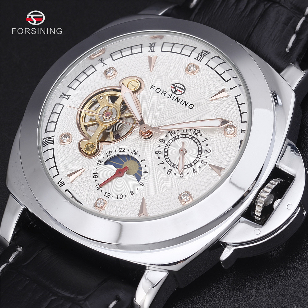 Forsining 2016 Automatic Watch Men Relogio Masculino Leather Strap Erkek Kol Saati Diamond Watches Luxury Montre Homme Relojes forsining full calendar tourbillon auto mechanical mens watches top brand luxury wrist watch men erkek kol saati montre homme